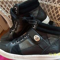 Coach Authentic Black Leather Ankle Patchwork Buckle Sneakers Shoes Size 5 Euc Photo
