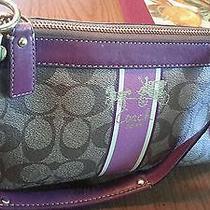 Coach Authentic Heritage Vintage Signature Leather Trim Shoulder Purse 12350 Photo