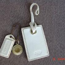 Coach Authentic Ivory Patent Leather Name Tag W/ Hang Tag Photo