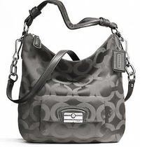 Coach Authentic Kristin Signature Op Art Sateen Hobo Gray Handbag Purse F 23742  Photo