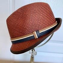 Coach Authentic Leather Band Brown Woven Panama Straw Trilby Hat - Size S/m Photo