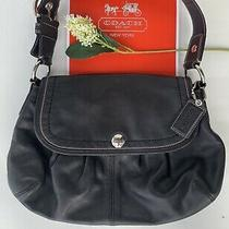 Coach Authentic Women's Black Leather Flap Hobo Shoulder Handbag Purse Photo
