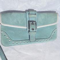 Coach Authentic Women's  Blue Suede Wristlet Cluch Purse Bag Photo