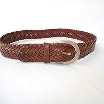 Coach Authentic Women's   British Tan Leather Braided Belt  M Photo