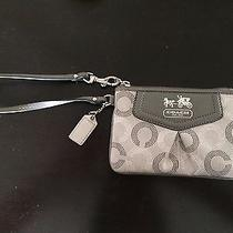Coach Authentic Wristlet Signature Cloth Pattern Metallic Wallet Silver Tone Photo
