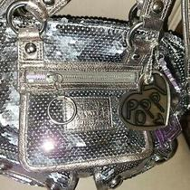 Coach Authetic Poppy Silver Sequin Purse-Large-Purple Inside lining.clean Photo