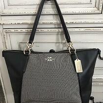 Coach Ava Legacy Leather Jacquard Tote Satchel Black /cream Mint  Condition Photo