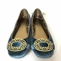 Coach Babs Ballet Flats Size 6m Teal Velvet Gold Buckles Photo