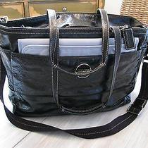 Coach Baby Diaper Bag Black W/ Blue Silk Lining Designer Baby Boy Photo