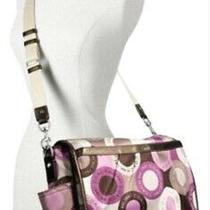 Coach Baby Diaper Bag Pink Purple Sateen Crossbody Messenger Purse F18377 New Photo