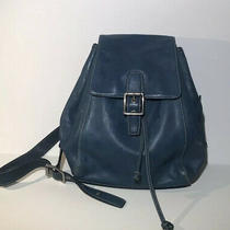 Coach Backpack Bag Blue Leather Legacy Photo
