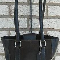 Coach Bag 9429 Black Leather and Fabric Shoulder Bag Photo