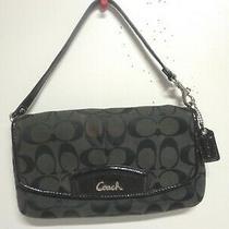 Coach Bag Black Signature Patent Leather Flap Credit Card Wrislet Wallet Purse Photo