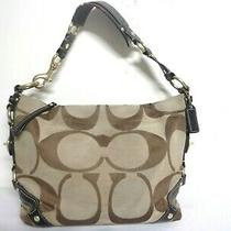 Coach Bag Carly 10619 Signature Brown Canvas Leather Large Shoulder Tote Purse  Photo