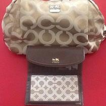 Coach Bag -Gold and White Signature With Wallet Photo