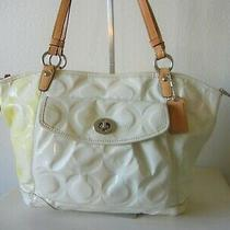 Coach Bag Ivory-Yellow Jumbo Signature Cover Tote Zip Closure Front Cell Pocket Photo
