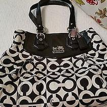 Coach Bag Pocketbook Euc Black and Ivory Photo