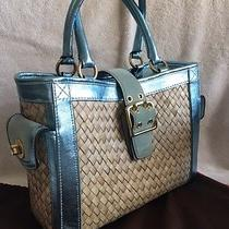 Coach Bag - Straw With Icy-Blue Metallic Leather and Suede Trim  Photo