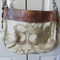 Coach Bag Tan Signature Fabric Satchel Purse Style A1093-F14711 Photo