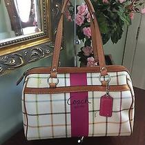 Coach Bag Tattersall Heritage Stripe Speedy Satchel F14791 B2 Photo