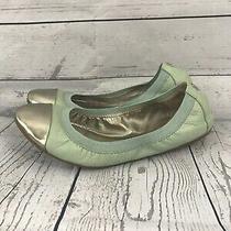 Coach Ballet Flats Cap Toe Leather Mint Green Silver Logo Detail Size 7.5 Photo