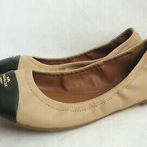 Coach Ballet Flats Womens Size 8 B Nude Pink Black Toe Cap Bonnie Fg2542 Leather Photo