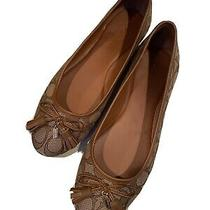 Coach Ballet Flats Womens Size 8 Gold/tan Signature Print Pre Owned Photo