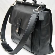 Coach Barclay - Black Leather Business Laptop Briefcase Messenger Bag 6456 Photo
