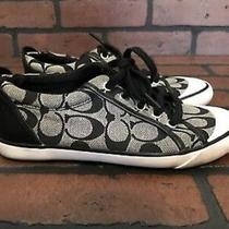 Coach Barrett Black Gray Signature Canvas & Leather Lace Up Sneakers 6 B Shoes Photo