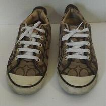 Coach Barrett Brown Khaki Canvas Sneakers Size 7 B Photo