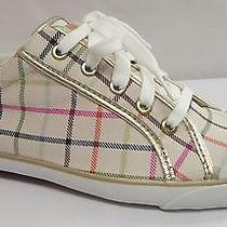 Coach Barrett Gold White Leather Fabric Womens Shoes Sneaker 10 M Photo