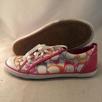 Coach Barrett Pink Multi Signature Canvs Sneaker- Q675 - Women's Size 10b - Good Photo