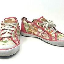 Coach Barrett Poppy Pink Logo Graffiti Canvas Lace Up Sneakers Women's Size 7 B Photo