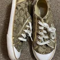 Coach Barrett Q675 Gold Signature Jacquard Fashion Sneakers Size 8b Photo