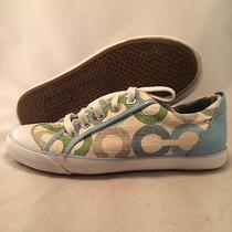Coach Barrett Signature Sneaker - A1358 - blue.green - Women's Size 7.5b - Great Photo