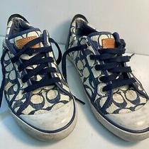 Coach  Barrett Sneakers Blue Signature  Monogram Size 8b A1045 Photo