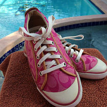 Coach Barrett Sz 5.5 Pink Logoed Sneakers Tennis Shoes Flats Shoes Cutest Ever Photo