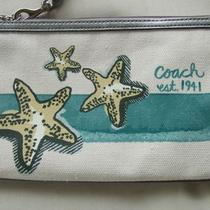 Coach Beach Starfish Motif Large Flat Wristlet Bag 47311 Purse Nwt Aqua Blue Photo