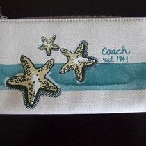 Coach Beach Starfish Motif Zippy Wallet Wristlet Bag 47554 Purse Nwt Aqua Blue Photo