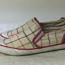 Coach Beale Tattersall Print Canvas Shoes Size 7.5  B Slip on Sneakers A1313 Photo