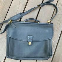Coach Beekman Vintage Briefcase 5266 Black Leather Laptop Bag Purse Shoulderbag Photo