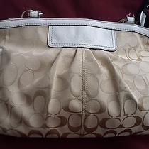Coach Beige Bag Signature Pleated Gallery Tote Photo
