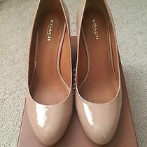 Coach Beige/blush Patent Leather Wedge Shoes Photo