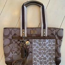 Coach Beige/brown/bronze Leather and Canvas Logo Bag Purse Tote Photo