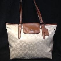 Coach Beige/brown Nylon and Leather Handbag Photo