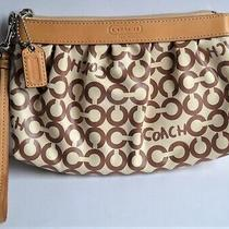 Coach Beige Brown Pleated Wristlet - Makeup Pouch -Signature C Coated Fabric Photo