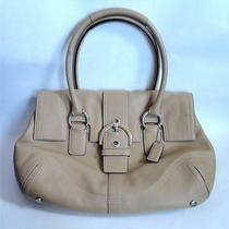Coach Beige Leather Soho Buckle Flap Signature Hobo Satchel Tote Bag Purse 8a11 Photo
