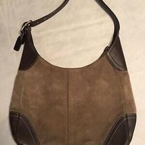Coach Beige Leather Suede Handbag (12) Photo