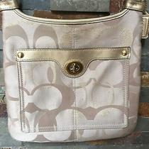 Coach Beige Monogram Crossbody Gold Leather Messenger Bag Photo