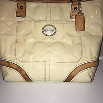 Coach Beige Patent Leather Tote Purse Handbag Photo
